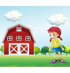 A little girl in the barn vector