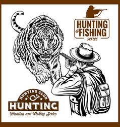 African safari hunting retro poster vector