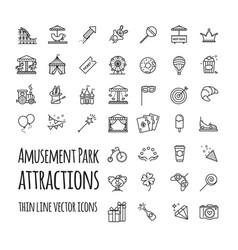 amusement park attraction icons set vector image