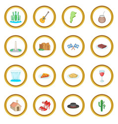 Argentina travel icons circle vector