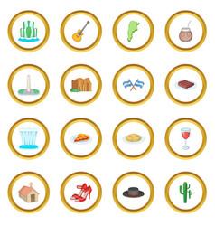 Argentina travel icons circle vector