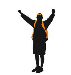backpacker silhouette vector image