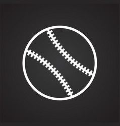 Baseball ball icon on black background for graphic vector