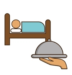 Bed plate and room of hotel service design vector