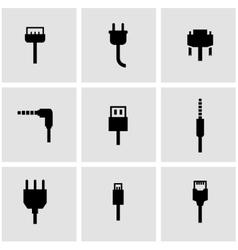 Black plug icon set vector