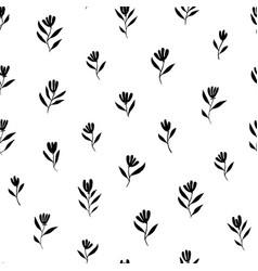 brush black simple flowers seamless pattern vector image