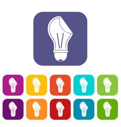bulb sticker icons set flat vector image