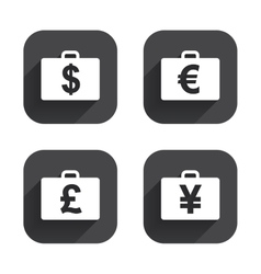 Businessman case signs Cash money icons vector image
