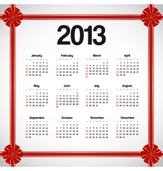 Calendar 2013 with bows vector image