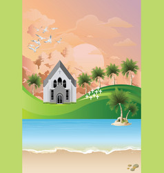 Christian church with tropical landscape at dawn vector