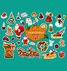 christmas and new year winter holiday sticker vector image