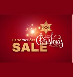 christmas sale design with gold shining snowflake vector image