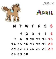 color horse calendar 2014 april vector image