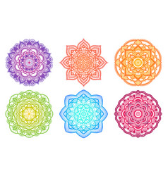 Colorful gradient mandala ethnic round ornament vector