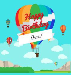 colorful hot air balloon birthday card vector image