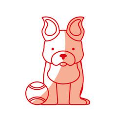 Cute dog mascot with tennis ball vector