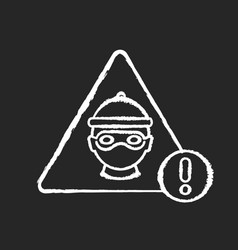 Cyber crime chalk white icon on black background vector
