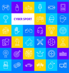 cyber sport line icons vector image