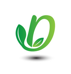 d green leaves letter ecology logo vector image