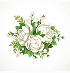 decorative composition white flowers and green vector image