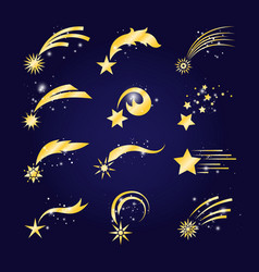 falling comets or golden shooting stars vector image