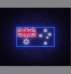 Flag of australia is a neon sign vector