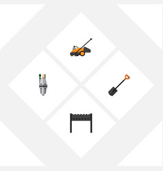 flat icon garden set of lawn mower barbecue vector image