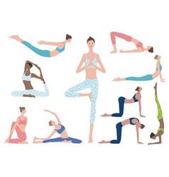 Flat set woman doing yoga exercise vector