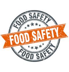 Food safety round grunge ribbon stamp vector