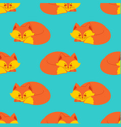 fox sleeps seamless pattern sleeping wild beast vector image