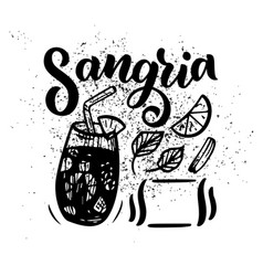 Freehand sketch style drawing of sangria cocktail vector