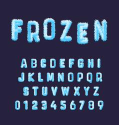 frozen font alphabet template set blue white vector image