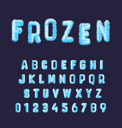 Frozen font alphabet template set of blue white vector