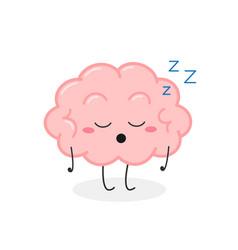 Funny asleep cartoon brain character vector