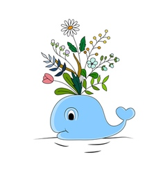 Funny whale and colorful floral vector