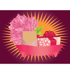 Gift box and roses vector