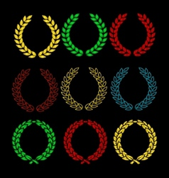 gold and colored wreath sign set isolated vector image