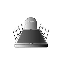 gravestone smartphone icon 3d vector image