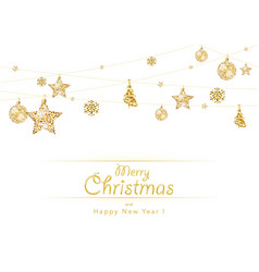 hanging golden christmas decoration on white vector image