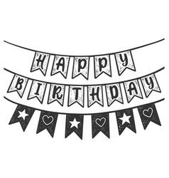 happy birthday flags sketch vector image