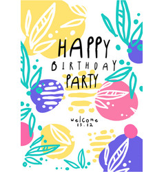 Happy birthday party colorful template with date vector
