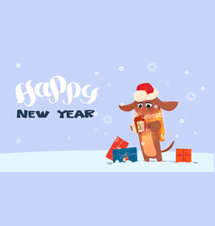 Happy new year 2018 background with cute dog vector