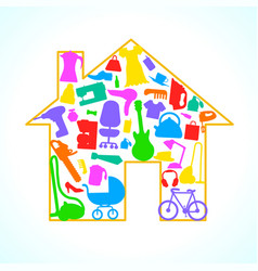 Houses items appliances icon set in house vector