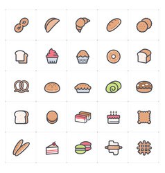icon set - bakery and bread full color vector image