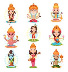Indian god and goddess set rama brahma kali vector