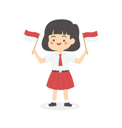 indonesia independence day school kids hold flag vector image