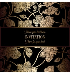 Intricate background with antique luxury black and vector