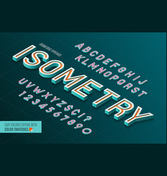 isometric alphabet 3d letters and numbers vector image
