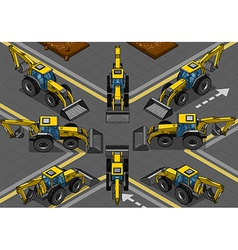 Isometric Yellow Backhoe in Eight Positions vector