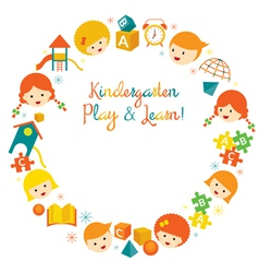 Kindergarten Preschool Kids Wreath vector